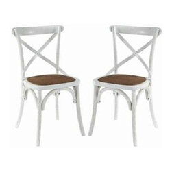 """LexMod - Gear Dining Side Chair Set of 2 in White - Gear Dining Side Chair Set of 2 in White - Evoke rustic remembrances as you sip a leisurely tea or hearty breakfast.With an open wooden backrest and tapered legs, the chair provides that country charm without compromising on modernity. The chair comes fully assembled and is a pleasant addition to country cottages, rustic environs, or any urban dweller in search of a respite. Set Includes: Two - Gear Dining Chair Tapered legs, Coated elm wood frame, Natural rattan seat Overall Product Dimensions: 18""""L x 16""""W x 34""""H Seat Height: 18""""H - Mid Century Modern Furniture."""