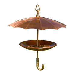 H Potter - Copper Umbrella Bird Feeder - The birds will keep singing in the rain with this feeder. The umbrella and tray are made of solid copper with stems and handles finished in brass for a pairing as classic as Gene Kelly and Debbie Reynolds. What a glorious feeling you'll get with this birdie bumbershoot.