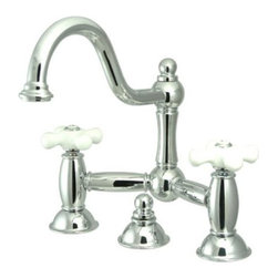 "Kingston Brass - Two Handle 8"" Widespread Lavatory Faucet with Brass Pop-up KS3911PX - Two Handle Deck Mount, 3 Hole Sink Application, 8"" Centerset, Fabricated from solid brass material for durability and reliability, Premium color finish resists tarnishing and corrosion, 1/4 turn On/Off water control mechanism, 1/2"" IPS male threaded shank inlets, Ceramic disc cartridge, 2.2 GPM (8.3 LPM) Max at 60 PSI, Integrated removable aerator, 9"" spout reach from faucet body, 11-1/2"" overall height.. Manufacturer: Kingston Brass. Model: KS3911PX. UPC: 663370021015. Product Name: Two Handle 8"" Widespread Lavatory Faucet with Brass Pop-up. Collection / Series: Restoration. Finish: Polished Chrome. Theme: Classic. Material: Brass. Type: Faucet. Features: Drip-free ceramic cartridge system"
