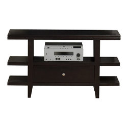 Jofran - Jofran Marlon Rectangle Sofa Table TV Stand with Wood Top in Wenge Finish - Jofran - TV Stands - 0919 - With a striking design, you can be sure that the Marlon Collection from Jofran will be a contemporary eye catcher in your living room. It features storage drawers and open shelf space for additional storage or display. Constructed of Oak solids and ash veneers in a wonderful rich wenge finish this collection is made with durability and style in mind.