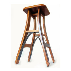 Stil Novo Design - Eiffel, barstool recycled oak wine barrel high stool. - Stil Novo Design's gorgeous interpretation of the classic bar stool is entirely made with recycled oak and galvanized steel hoop 'rescued' from discarded French wine barrels.