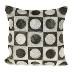 Design Accents Bruno Pillow - Grey - The mix of texture and color make the Design Accents Bruno Pillow - Grey a bold choice for your modern space. Made of leather and velvet, this luxurious pillow features a contemporary geometric pattern in grey and black. Available in various sizes, it's the perfect accent for your sofa, chair, or bed.