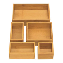 Seville Classics - Seville Classics 5-piece Bamboo Drawer Organizer Boxes - Keep your drawer organized with Seville Classics bamboo drawer organizer boxes. Made of eco-friendly and renewable bamboo, each box is designed to fit snugly together.