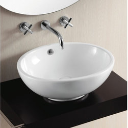 Caracalla - Oval White Ceramic Vessel Bathroom Sink - Oval vessel bathroom sink with white glaze finish. Comes standard with overflow and has no options for faucet holes. Made in Italy by Caracalla. Oval bathroom sink. No holes. With overflow. Contemporary style. Designed by Caracalla. Standard drain size of 1.25 inches.