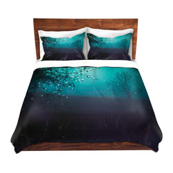 DiaNoche Designs - Duvet Cover Microfiber - Song of the Midnight Bird - Super lightweight and extremely soft Premium Microfiber Duvet Cover in sizes Twin, Queen, King.  This duvet is designed to wash upon arrival for maximum softness.   Each duvet starts by looming the fabric and cutting to the size ordered.  The Image is printed and your Duvet Cover is meticulously sewn together with ties in each corner and a hidden zip closure.  All in the USA!!  Poly top with a Cotton Poly underside.  Dye Sublimation printing permanently adheres the ink to the material for long life and durability. Printed top, cream colored bottom, Machine Washable, Product may vary slightly from image.