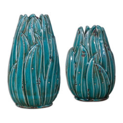 Uttermost - Uttermost 19820  Darniel Ceramic Vases, S/2 - Ornate ceramic vases feature a distressed, crackled teal blue finish with antique khaki undertones. sizes: sm-8x12x6, lg-8x15x6