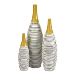 Imax Worldwide Home - 3-Pc Multi Glaze Vases - Includes three vase. Topped with a bold yellow glaze. Hand-painted neutral stripes around. Made from ceramic. Vase 1: 3.5 in. Dia. X 12 in. H (6.06 lbs.). Vase 2: 5 in. Dia. x 17 in. H (6.06 lbs.). Vase 3: 6 in. Dia. x 21.25 in. H (6.06 lbs.)New for winter markets.