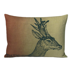 Kevin O'Brien Studio - Animals Friends Deer Pillow, Desert - These animals, illustrated by Kevin O'Brien, provide a pop of intrigue to any interior; design on front only; zip closure; comes with a feather/down insert