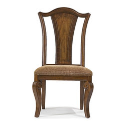 American Traditions Splat Back Side Chair, Set of 2, Rich Cordovan Mahogany - The best of traditional American style joined with modern construction and finishing in this splat back (yes, that's really a furniture term - wikipedia knows all) upholstered side chair. Stylish and comfortable, this side chair is constructed of hardwood solids and mahogany veneers with maple inlay and is finished in a gorgeous cordovan mahogany. Coordinating upholstery provides a comfortable seat for lingering romantic dinners or working lunches. Sumptuous curves and graceful lines complete the look of this delightful arm chair.