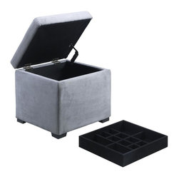 Linon - Judith Ottoman with Jewelry Storage in Gray - Grey Microfiber Upholstery. Safety hinge on lid. Ample interior storage space. Lift out jewelry tray insert. Plush cushioned top. Black Finish. Fully Assembled. 16 in. W x 16 in. D x 16 in. HThe Grey Judith Ottoman is ideal for added bedroom or closet storage. The ottoman features a plush cushioned top and a grey microfiber upholstered exterior. Once the lid is lifted, ample interior storage space is revealed. A single black jewelry tray inset lifts out allowing you to keep your jewels stored out of sight.