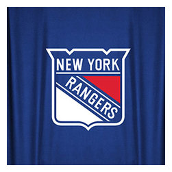 Sports Coverage - NHL New York Rangers Hockey Locker Room Shower Curtain - Features: