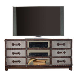 Hooker Furniture - Hooker Furniture Melange 60 inch Bondurant Entertainment Console in Silver Leaf - Hooker Furniture - TV Stands - 63855002 - Come closer to M��lange and you will discover something unexpected an eclectic blending of colors textures and materials in a vibrant collection of one-of-a-kind artistic pieces.