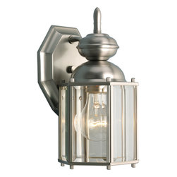 """Progress Lighting - P5756-09 Progress Lighting BrassGuard Lantern - Progress Lighting P5756 BrassGuard Outdoor Sconce Wall lantern with beveled glass panels. Open bottom. ,. This Progress Lighting Small Hexagonal Exterior Sconce is offered in brushed nickel. It is available with clear beveled glass. Works with one 100-watt clear incandescent bulb. Part of the BrassGuard Lanterns collection. Width/Diameter: 5-1/2"""". Height: 10-1/4"""". Uses (1) 100w Max Medium Base Bulb. Small wall lantern - Traditional hexagonal style. Polished (-10) or Weathered Brass (-11) finish. Solid brass construction throughout. Clear beveled glass. Brass guard finish coat. Clear gasket preinstalled on back plate to isolate it from wall for tarnish protection. Lamp replacement: Through bottom opening, remove top of unit. Matching post top, larger wall mount and chain hung units available. Wall mounted. Covers standard junction box. Mounting strap for outlet box and cap nuts furnished included. Back plate: 4-3/4""""W x 5-1/2""""H. Medium based sockets are porcelain with nickel plated brass screw shell. UL Wet location listed."""