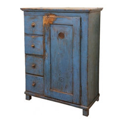 EcoFirstArt - Early 19th C Painted Scandinavian Cupboard - Though originally intended for the kitchen, this wooden cupboard is as versatile as it is charming. With ample drawer space and shelving, it's a quaint yet cool piece that could serve as your bedroom armoire, a media cabinet, you name it.