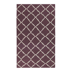 "Surya - Surya Frontier FT-450 (Papyrus, Prune Purple) 3'6"" x 5'6"" Rug - Frontier Collection features a series of flat-weave reversible designs with tribal and casual themes. Hand woven in India, these rugs are produced from the finest wool with unique patterns designed to enrich any room. Fashionable, durable and affordable, these styles are sure to update any decor."