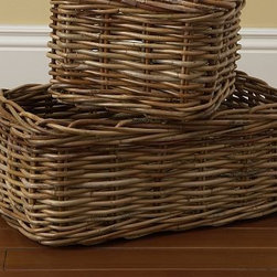 Logan Basket Rectangular Natural - Hand woven of thick, natural arurog in its natural hue, our durable baskets make the perfect home for all of your family's necessities. Keeps DVDs, CDs and small accessories organized. Sized to fit our Logan Home Office and media collections. Available in 2 sizes. Watch a video about {{link path='/stylehouse/videos/videos/ba_v3.html?cm_sp=Video_PIP-_-DECORATING-_-LOGAN_BASKET' class='popup' width='420' height='300'}}decorating with baskets{{/link}}. Catalog / Internet Only.