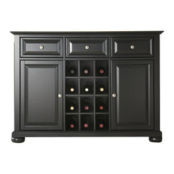 Crosley Furniture - Crosley Furniture Alexandria Buffet Server / Sideboard Cabinet in Black Finish - Crosley Furniture - Buffet Tables & Sideboards - KF42001ABK - Constructed of solid hardwood and wood veneers this Buffet Server / Sideboard Cabinet is designed for longevity. The beautiful raised panel doors & drawers provide the ultimate in style to dress up your home. The three deep drawers provide an abundance of storage space. Behind the two doors you will find adjustable shelves and storage space for things that you prefer to be out of sight. The center storage area is great for up to 12 bottles of wine or if you prefer remove the wine storage cubes to reveal an adjustable shelf. Style function and quality make this Buffet Server a wise addition to your home.