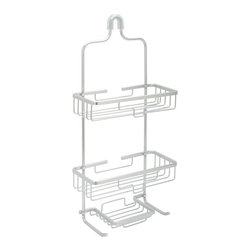 Zenith - NeverRust Aluminum Frame Large Shower Caddy - The NeverRust Shower Caddy is made from durable aluminum material that will never rust. This spacious,large caddy consists of two shelves,a built-in soap dish and two built-in hooks.