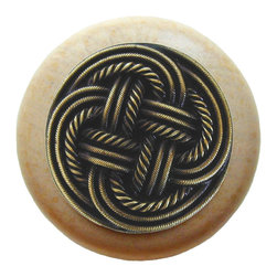 Classic Collection - Classic Weave Wood Knob in Antique Brass/Natural