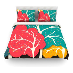 "Kess InHouse - Danny Ivan ""Happy Forest"" Trees Cotton Duvet Cover (Twin, 68"" x 88"") - Rest in comfort among this artistically inclined cotton blend duvet cover. This duvet cover is as light as a feather! You will be sure to be the envy of all of your guests with this aesthetically pleasing duvet. We highly recommend washing this as many times as you like as this material will not fade or lose comfort. Cotton blended, this duvet cover is not only beautiful and artistic but can be used year round with a duvet insert! Add our cotton shams to make your bed complete and looking stylish and artistic! Pillowcases not included."