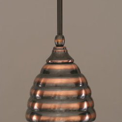 Toltec Lighting - Black Copper Stem Mini Pendant with Beehive Metal Shade - - 6-Inch Black Copper Beehive Metal Shade  - Bulbs not included  - Comes with 1-6-Inch, 2-12-Inch, and 1-18-Inch stem sections  - Comes with a hang straight swivel Toltec Lighting - 23-BC-425