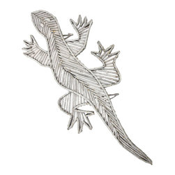 Zeckos - 37 Inch Long Weathered Wood Twig Gecko Wall Art - This wonderful, artificially weathered white gecko wall hanging is made of pieces of wooden twigs. Each twig is nailed into place with tiny brad nails. The hanging measures 37 inches long, 17 inches wide and 1 1/8 inches thick. It hangs on the wall with 2 nails, using the 2 nail hangers (made of twigs also). He'll add a primitive touch to any room, and makes a great gift for gecko or lizard fans.
