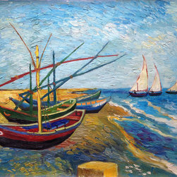 overstockArt.com - Fishing Boats on the Beach at Saintes-Maries - Vincent Van Gogh - Hand painted oil reproduction of one of the most famous Van Gogh paintings, Fishing Boats on the Beach at Saintes-Maries . The original masterpiece was created in 1888. Today it has been carefully recreated detail-by-detail, color-by-color to near perfection. Why settle for a print when you can add sophistication to your rooms with a beautiful fine gallery reproduction oil painting? Vincent Van Gogh's restless spirit and depressive mental state fired his artistic work with great joy and, sadly, equally great despair. Known as a prolific Post-Impressionist, he produced many paintings that were heavily biographical. This work of art has the same emotions and beauty as the original by Van Gogh. Why not grace your home with this reproduced masterpiece? It is sure to bring many admirers!
