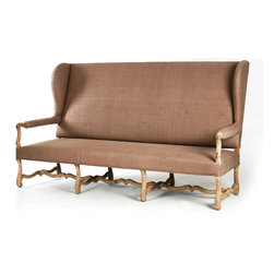 Marilou Bench - Beautiful depths to the design of the Marilou Bench combine with the use of a handsome, classic carved wood, inviting the eye to linger and the mind to conjure up images of window vistas and long, stately halls.  High-backed and erect, the gorgeous sofa is reminiscent of an antique fire settle or hall bench, but lovely upholstery and airily narrow arms keep the impression light and serene.