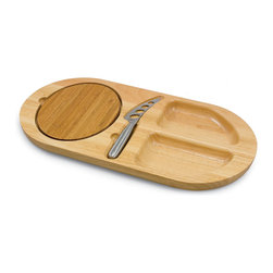 Picnic Time - Fontina Cutting Board - The Fontina by Picnic Time is an original design you won't find elsewhere. It's an oval serving tray made of eco-friendly rubberwood, a hardwood known for its rich grain and durability. The tray has two carved-out sections to hold a variety of foods. A removable cutting board made of bamboo sits in a recessed channel to stabilize the board while you're cutting. The Fontina comes with 1 stainless steel forked-tipped cheese knife with holes on its face to prevent cheese from sticking. The Fontina is the perfect hostess tray for those who like to entertain in style. Includes: 1 stainless steel forked-tipped cheese knife (for hard or soft cheeses), and one removable bamboo cutting board
