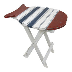 Zeckos - Red, Blue and White Fish Folding Wooden Accent Table - This table is great indoors or out, and is perfect for your next BBQ or party! Made from wood, it folds for easy storage or travel, and features a slat wood fish shaped top to set drinks on the patio, a book on the porch or a snack tray for the kids in the backyard. It's painted red, blue and white with distressed finished edges giving it even more character, and measures a convenient 22 inches (56 cm) high, 20 inches (51 cm) long and 14.5 inches (37 cm) wide. Take it to the beach or the park to set your bag on to keep it sand free. It's a great accent anywhere, and makes a great gift for a fish loving friend!