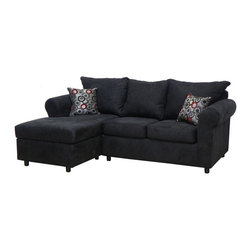 Chelsea Home - 2-Pc Dina Upholstered Sectional Set - Includes toss pillows. Sofa with bulldozer black cover. Pillows with bulls eye pepper cover. Polyter blend fabric. Hardwood frame. Dacron wrapped 1.5 density foam cushions. Medium seating comfort. N sag sinuous spring system to maintain a uniform seating area. Made in USA. No assembly required. 85 in. L x 60 in. W x 37 in. H (220 lbs.)