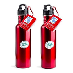 Prime Pacific LLC - Pair of 2 Stainless Steel Water Bottles, Red - This pair of water bottles is BPA free! It comes made out of durable stainless steel, with room for 25 oz of liquid. It has a wide mouth for easier addition of ice cubes for cold beverages. It is lightweight and easy to carry with a loop screwed cap that is made for attaching to your belt or bag! This pair is not intended for use with hot items!
