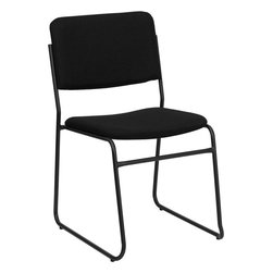 Flash Furniture - Hercules Series 1500 Lb. Capacity High Density Black Fabric Stacking Chair - The versatility of this sled base stack chair makes it useful in the Church/ Offices/ and Training Rooms or in the Classroom or Home. The thick padded seat and back will keep users comfortable throughout the duration of the day. This chair offers comfort and a heavy duty frame that supports up to 1500 lbs.! So when in need of temporary or permanent seating this multi-purpose stack chair is sure to meet the needs for any venue.