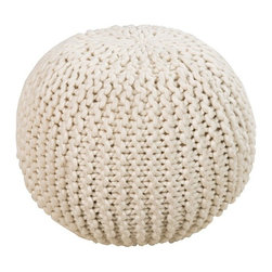 "The Ivory Company - HandWoven Knit Pouf/Ottoman - This round braided Pouf in neutral ceramic color is a  perfect accent to any decor, as well as bring a textrual element to any space. Made of 100% wool.18"" diam. x 12"" H"