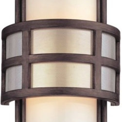 Troy Lighting - Discus Wall Sconce by Troy Lighting - The Troy Lighting Discus Wall Sconce features a satin stainless steel mesh outer shade that wraps gently around a Matte Opal glass shade. Great for both indoors or outdoors, this 20s-inspired sconce balances durable hand-worked wrought iron and stainless steel with the fine appearance of satin and glass.Troy Lighting, headquartered in California, designs and manufactures indoor and outdoor lighting fixtures, utilizing hand-forged iron and hand-applied finishes to create quality products with high-style appeal.The Troy Lighting Discus Wall Sconce is available with the following:Details:Satin Stainless Steel outer shadeMatte Opal inner glass shadeHand-worked wrought iron supportsGraphite finishRectangular wall plateSmall and Medium options include optional roof for exterior use; Large option is closed top onlyUL Listed for wet locationsOptions:Size: Large, Medium, or Small.Lighting:Large option utilizes two 60 Watt 120 Volt Medium Base Incandescent lamps (not included).Medium option utilizes two 60 Watt 120 Volt Medium Base Incandescent lamps (not included).Small option utilizes one 60 Watt 120 Volt Candelabra Base Incandescent lamp (not included).Shipping:This item usually ships within 1 -2 weeks.