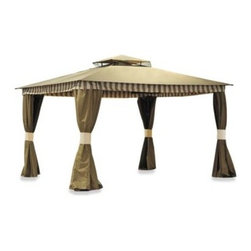 Sunjoy Industries Group Limited - Contessa Gazebo - Create an outdoor oasis in your yard with the Contessa Gazebo. An aluminum, power-coated frame is styled with an elegant scroll pattern which adorns the valance.