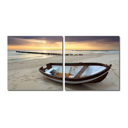 """Wholesale Interiors - Fisherman's Respite Mounted Photography Print Diptych - An abandoned rowboat resting along a sandy shore, one can only imagine the fisherman's whereabouts. Made in China with MDF wood frames, this two-piece modern wall art set features an image split in half and printed on two waterproof vinyl canvases. The Fisherman's Respite Diptych is made in China and is fully assembled. Hardware for hanging on the wall of your choice is not supplied. To clean, wipe with a dry cloth. Product dimension: 19.68""""W x 1""""D x 19.68""""H."""