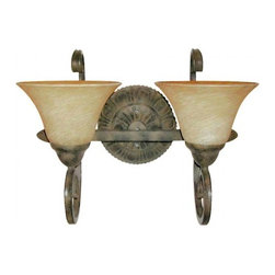 YOSEMITE HOME DECOR - 2 Lights Vanity in Light Tuscan Sand - Hardwire : Yes