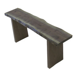"3 Board Bench, Natural Black Walnut, 48"" Length - A gorgeously solid and simple bench with natural edge top needs no frills. The 3 board bench offers clean lines and natural elements so that the rest of your décor can dazzle. As this is a natural edge product depth may vary slightly from 12""-14.5"""