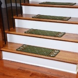 "Dean Flooring Company - Washable Non-Skid Carpet Stair Treads - Trellis Green (13) - Washable Non-Skid Carpet Stair Treads - Trellis Green (13) : Washable non-skid carpet stair treads by Dean Flooring Company. Helps reduce slips on your hardwood stairs. Great for helping your dog easily navigate your slippery staircase. Polypropylene pile with a machine washable non-skid latex backing (wash on delicate in cold water, line dry). Also easy to spot clean or vacuum. Reduces noise. Reduces wear and tear on your hardwood stairs. Each set contains 13 pieces. Each tread is approximately 25"" x 9"". Easy DIY installation with double-sided carpet tape (not included). Adds an attractive fresh new look to your staircase."
