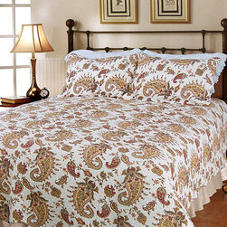 None - Peace of Mind Full/ Queen-size Quilt Set - Enliven your bedroom with this paisley motif quilt set,featuring the holy basil plant of India,Tulsi. Made of soft cotton,this Peace of Mind quilt set includes two coordinating shams.