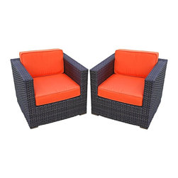 "Lamps Plus - Contemporary Atlantic Bellagio 2-Piece Orange Outdoor Armchair - Atlantic Bellagio 2-Piece Orange Outdoor Armchair. Dark brown wicker finish. Cushion color is orange. Atlantic collection. Aluminum and Synthetic Wicker frame. 2 individual pieces. Great functionality. No assembly required. 1 year warranty. Armchair with cushions dimension is 31 1/2"" wide 31 1/2"" deep 27"" high.  Atlantic collection armchairs.  Dark brown wicker finish.  Cushion color is orange.  Cushions included.  Aluminum and Synthetic Wicker frame.  2 individual pieces.  Great functionality.  No assembly required.  1 year warranty.  Armchair with cushions dimension is 31 1/2"" wide 31 1/2"" deep 27"" high."