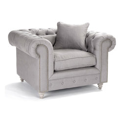 Kathy Kuo Home - Alaine English Rolled Arm Gray Linen Tufted Club Chair - One of the things we love most about French Country style furniture is the balance between formal and relaxed that always seems to be perfectly achieved in pieces like this dark eggplant colored, nail head detailed club chair. Tufted upholstery and ball feet lend a traditional air, while the gray fabric and generous proportions invite one and all to take a seat and unwind.