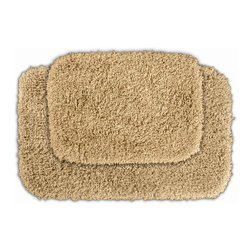 None - Serenity Golden Sand Bath Rug (Set of 2) - Luxuriate in the deep pile of the Serenity bath and spa collection. These two tan rugs are created from durable, machine-washable nylon with non-skid latex backing for safety.