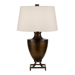 Fine Art Lamps - Recollections Bronze Table Lamp, 828210-2ST - A wide curved base gives this table lamp a solid feel, but the tiny square stand it's perched on adds an unexpected, modern edge. Shimmering highlights add warmth to the finish, helping it to harmonize with metallic or wood elements. The laminated cream shade is expertly finished with streamlined, rolled-over edges.