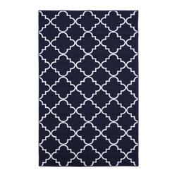 None - Fancy Trellis Navy Rug (5' x 7') - Simple and refined this lattice print rug in navy is an excellent way to add charm and elegance to your decor.  This rug is extremely durable and vibrant.
