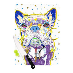 """Kess InHouse - Rebecca Fischer """"Niko"""" French Bulldog Cutting Board (11.5"""" x 15.75"""") - These sturdy tempered glass cutting boards will make everything you chop look like a Dutch painting. Perfect the art of cooking with your KESS InHouse unique art cutting board. Go for patterns or painted, either way this non-skid, dishwasher safe cutting board is perfect for preparing any artistic dinner or serving. Cut, chop, serve or frame, all of these unique cutting boards are gorgeous."""