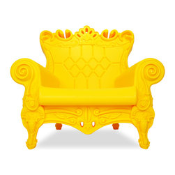 Design of Love - Queen of Love - Chic Black, Sunflower Yellow - An ironic revisiting of the Louis XV style, the QUEEN OF LOVE Armchair is not only a luxurious choice for seating but an irresistible statement piece for any decor. This surprisingly comfortable armchair owes its whimsical appearance to its baroque style, bright, modern color options, the exaggerated contours and intricate details that encompass each armchair. Made in a rotational mold, the armchair is a seamless, durable piece of furniture made entirely of recyclable linear polyethylene. The QUEEN OF LOVE Armchair is a versatile piece that will survive equally well indoors and outdoors.