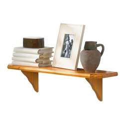 Lewis Hyman - Solid Wood Shelf Kit w Curved Brackets & Oak - Choose Size: 24 in. WDisplay your collectibles in style with this attractive Venezia solid wood wall shelf kit.  The set includes the sturdy clipped-corner oak finish shelf which is over one inch thick.  The support brackets have an interesting wave-edge design.  The surface of the shelf has a groove along the length so decorative plates or picture frames will stay securely in place.  This handy shelf is nine inches deep and comes in your choice of lengths. 9 in. D x 1.13 in Thick. Solid Wood construction. Grooved design is ideal for displaying collectibles. Made in ChinaWith its traditional design and beveled edges, this shelf kit is a perfect compliment to any decor. Its extra thick shelf and flush mounting brackets make it ideal for use in your home or office. Kit includes one shelf and two brackets.