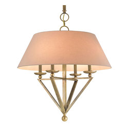 Kathy Kuo Home - Harper Transitional Classic Antique Brass Large Pendant Light - A festive fan of antique brass opens to hold four brilliant candelabra bulbs. Combining elegant triangles and welcoming circles, this geometric chandelier hangs from an adjustable metallic rod. A neutral silk shantung shade encircles the lights a warm neutral tone.